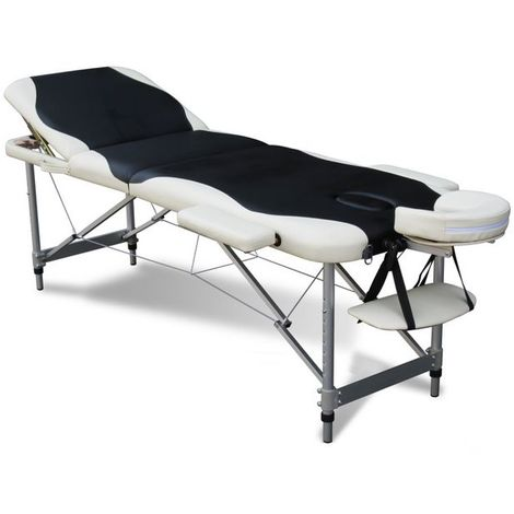 Luxury Massage Table Couch Bed Folded 3 Section Aluminium Frame Black White