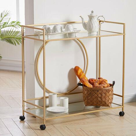 Luxury Metal Frame Drinks Trolley 2 Tier Glass Shelf Food Wine Serving Shelf