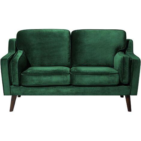 Luxury Modern 2 Seater Sofa Upholstered Velvet Green Lokka