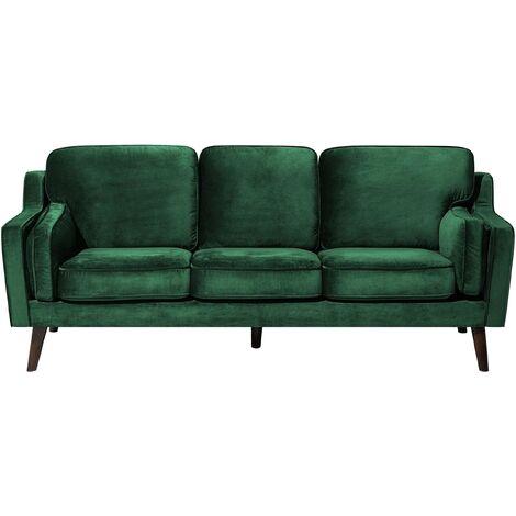 Luxury Modern 3 Seater Sofa Upholstered Velvet Light Green Lokka