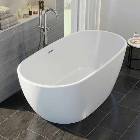 Luxury Montbel Modern Freestanding Bath 1700mm Acrylic Built in Waste White