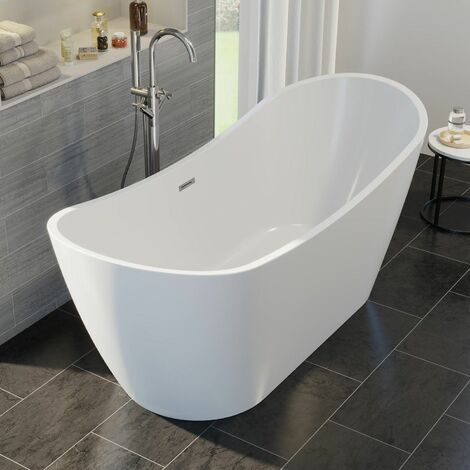 Luxury Montriond Modern Freestanding Bath 1830mm Acrylic Built in Waste White
