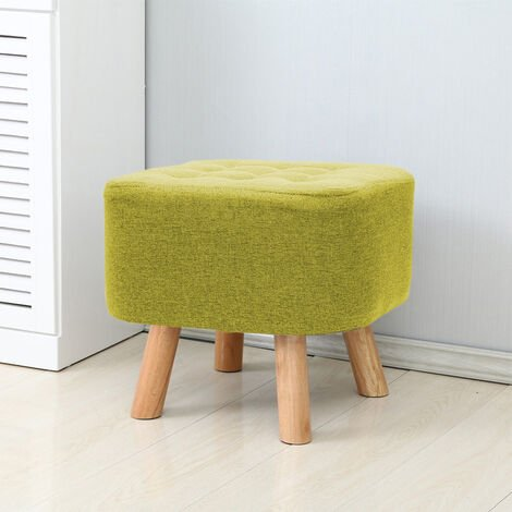 Luxury Padded Wooden Footstool Ottoman Square Pouffe Stool Green