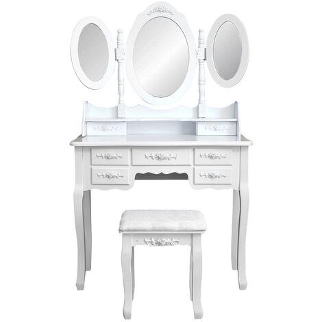 "main image of ""Luxury retro 3 mirrors dressing table set 7 drawers soft stool set large storage space vanity table White - White"""