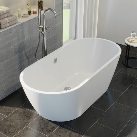 Luxury Roubaix Modern Freestanding Bath 1550mm Acrylic Built in Waste White