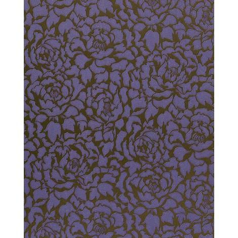 Luxury tone on tone wallpaper wall EDEM 830-29 deluxe deep embossed peony flowers dark lilac violet-blue bronze 75 sq feet