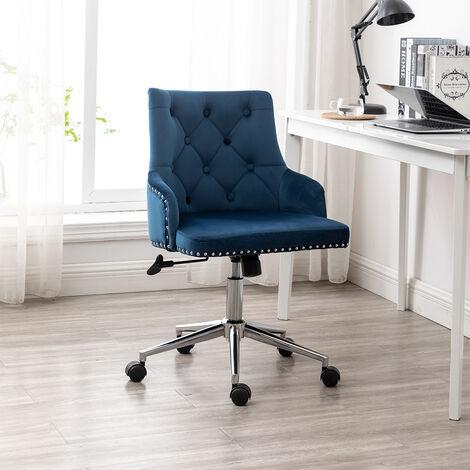 Luxury Velvet Home Office Chair Adjustable Height Comfy Padded Swivel Mid Back, Blue