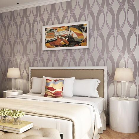 Luxury Wallpaper Nonwoven 10M Curve Wave Flocking Rolls Embossed TV 3D Bedroom