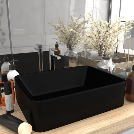 Luxury Wash Basin Matt Black 41x30x12 cm Ceramic