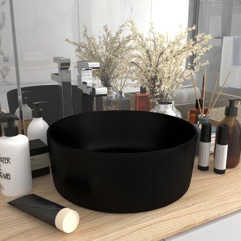 Luxury Wash Basin Round Matt Black 40x15 cm Ceramic
