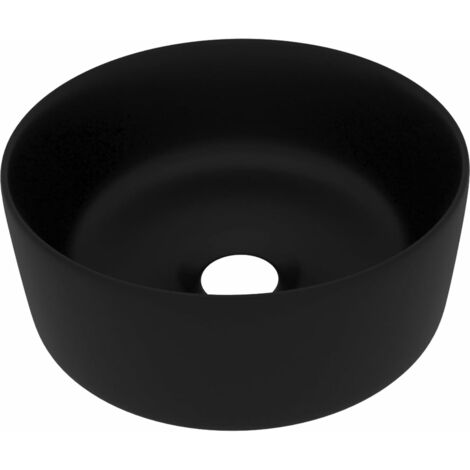Luxury Wash Basin Round Matt Black 40x15 cm Ceramic