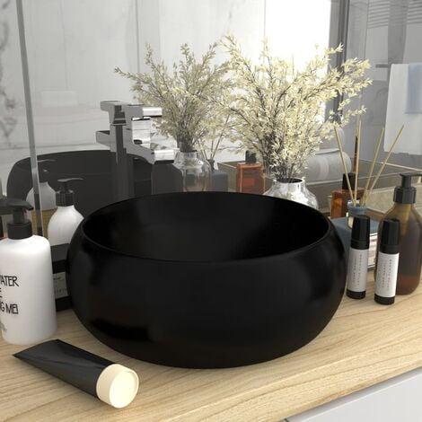 Luxury Wash Basin Round Matt Black 40x15 cm Ceramic - Black