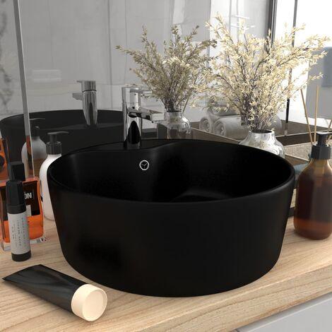 Luxury Wash Basin with Overflow Matt Black 36x13 cm Ceramic