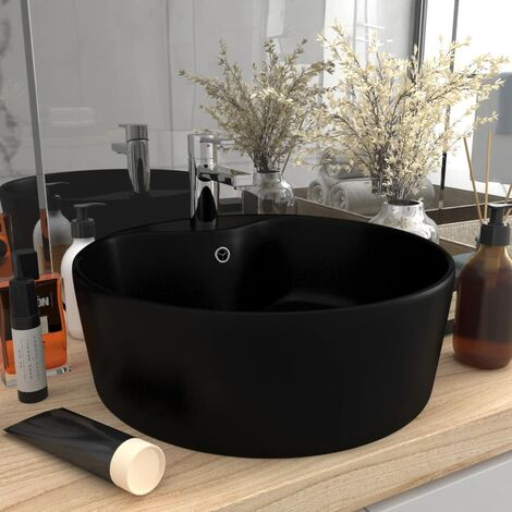 Luxury Wash Basin with Overflow Matt Black 36x13 cm Ceramic - Black
