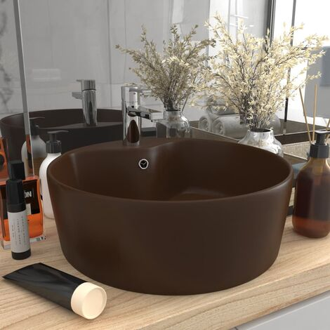 Luxury Wash Basin with Overflow Matt Dark Brown 36x13 cm Ceramic - Brown