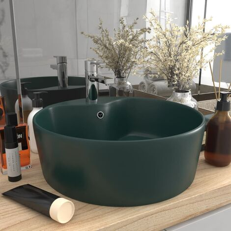 Luxury Wash Basin with Overflow Matt Dark Green 36x13 cm Ceramic - Green