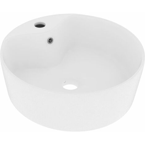 Luxury Wash Basin with Overflow Matt White 36x13 cm Ceramic