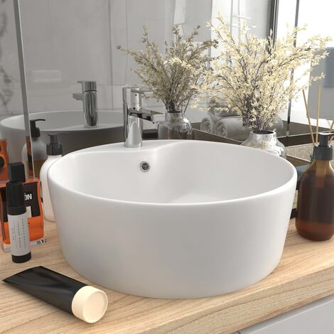 Luxury Wash Basin with Overflow Matt White 36x13 cm Ceramic - White