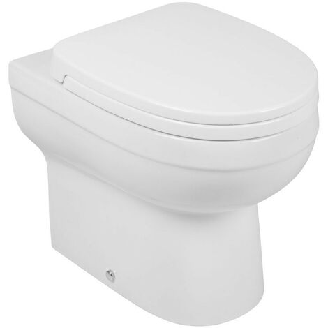 Luxury White Vitreous Ceramic Back to Wall Toilet Pan with Soft Close Seat