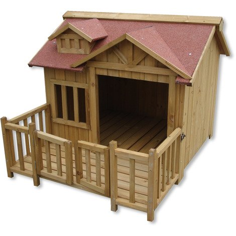 Luxury XL Dog Kennel Dog House Wood Balcony Garden Veranda Dog
