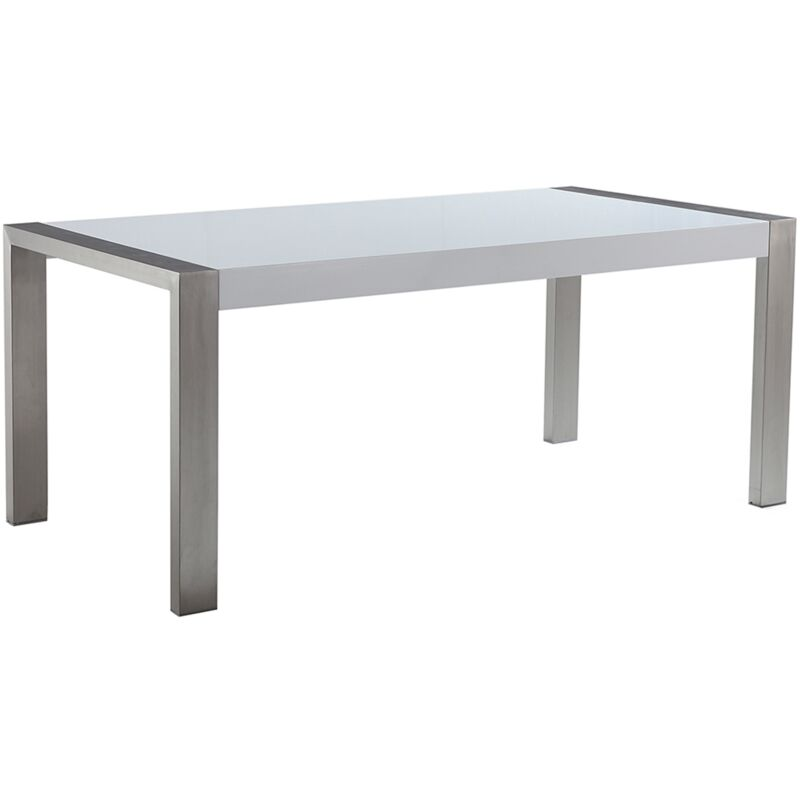 Beliani - Esstisch Weiß mit Silber 90 x 180 cm Edelstahl Glänzend Elegante Optik Rechteckig Modern