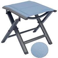 Luxus Fußhocker gepolstert mit Quick Dry Foam Garten Aluhocker Gartenmöbel Sitzhocker Camping Hocker Textilen blau
