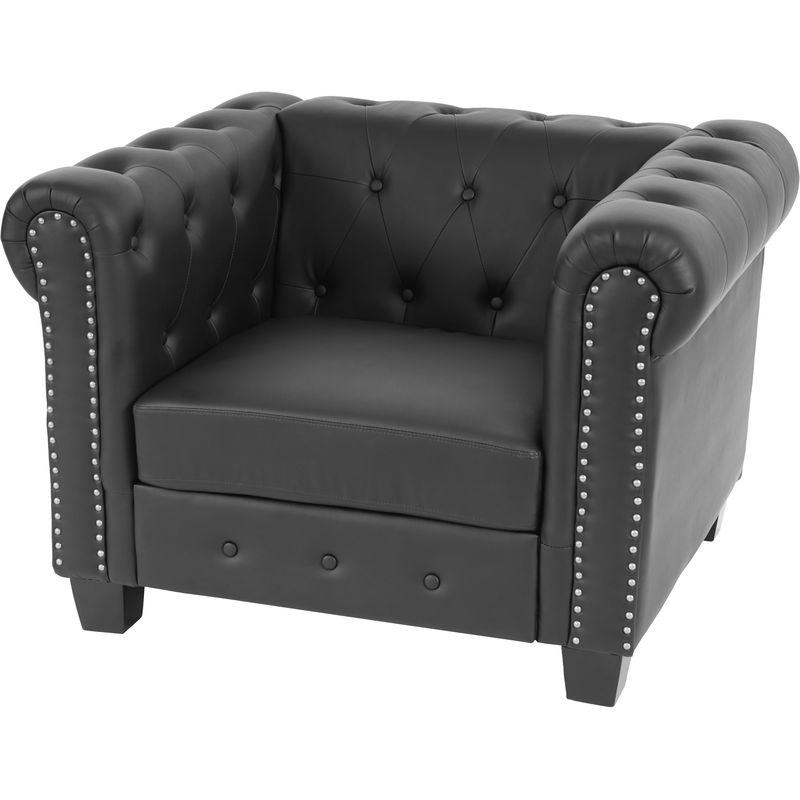 HHG - Luxus Sessel Loungesessel Relaxsessel Chesterfield Edingburgh Kunstleder ~ eckige Füße, schwarz