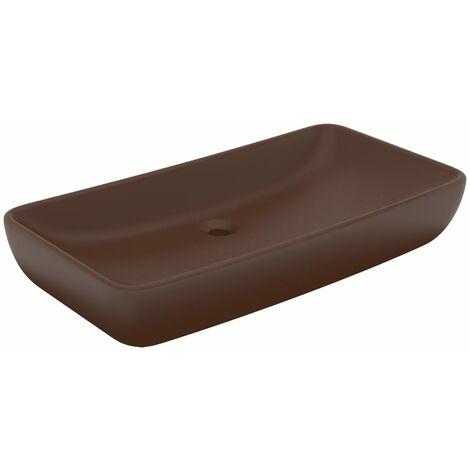 Luxus-Waschbecken Rechteckig Matt Dunkelbraun 71x38 cm Keramik