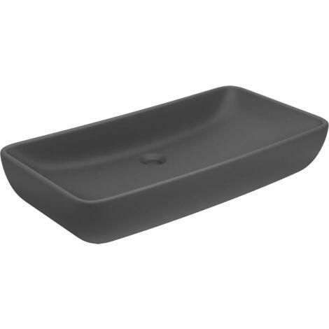 Luxus-Waschbecken Rechteckig Matt Dunkelgrau 71x38 cm Keramik