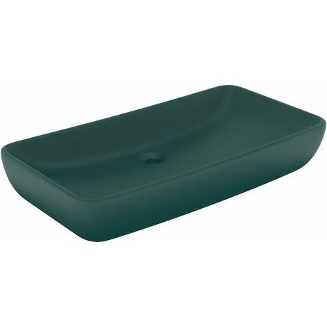 Luxus-Waschbecken Rechteckig Matt Dunkelgrün 71x38 cm Keramik