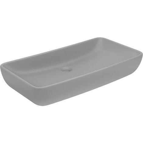 Luxus-Waschbecken Rechteckig Matt Hellgrau 71x38 cm Keramik
