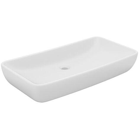 Luxus-Waschbecken Rechteckig Matt Weiß 71x38 cm Keramik