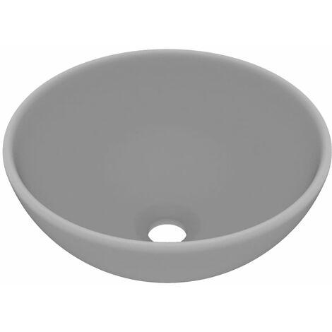 Luxus-Waschbecken Rund Matt Hellgrau 32,5x14 cm Keramik