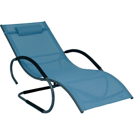 Luxus XXL Aluminium Schwingliege Swingliege Gartenliege Sonnenliege blau