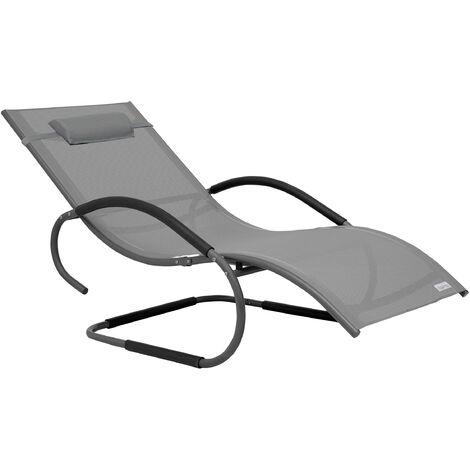 Luxus XXL Aluminium Schwingliege Swingliege Gartenliege Sonnenliege grau