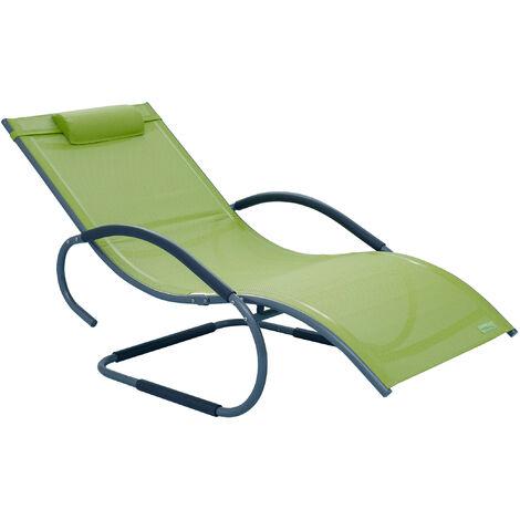 Luxus XXL Aluminium Schwingliege Swingliege Gartenliege Sonnenliege grün