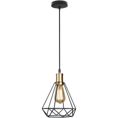 Luz Colgante Ajustable de Diamante Cage de Hierro Diseño Moderno Simple Nórdico Lampara de Techo Jaula Hueco Iluminacion de Sala Comedor Dormitorio Cocina (Negro)