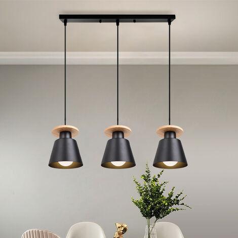 Luz Colgante Retro 3 Luces Lámpara Colgante Moderna Nórdica Araña de Madera Vintage Colgante de Luz de Cocina para Sala de Estar
