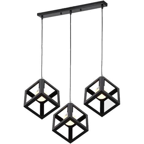 Luz Colgante Retro Lámpara de Techo Cubo Lámpara Colgante Industrial Antigua Metal Luz de Techo Creativa 3 Cabezas E27 Negro