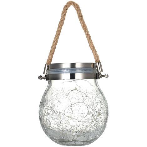 Luz colgante solar al aire libre, lampara de bola de cristal de grieta,Blanco calido