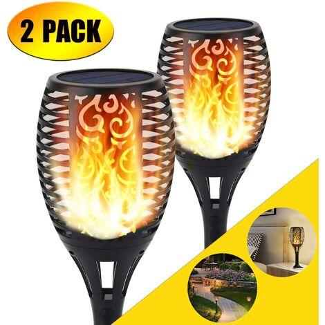 Luz de antorcha solar, 96 luces LED parpadeantes de llamas, senderos de jardín / patio, decoración de paisaje al aire libre, iluminación de llama de baile