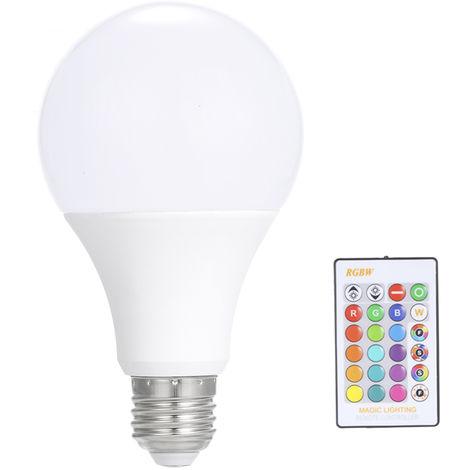 luz de bombilla led de control remoto, bombilla rgb, luz regulable E27, 15W