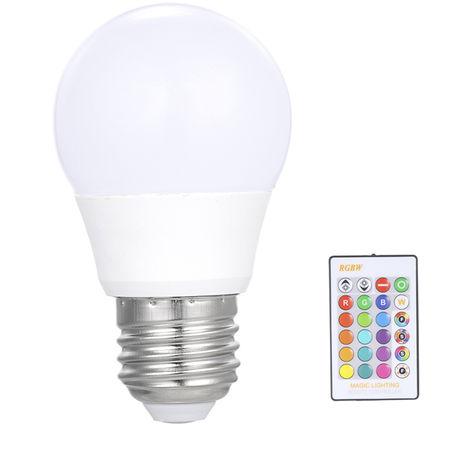 luz de bombilla led de control remoto, bombilla rgb, luz regulable E27, 3W