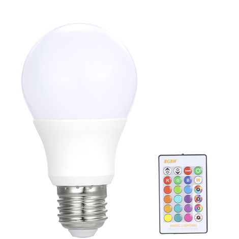 luz de bombilla led de control remoto, bombilla rgb, luz regulable E27, 5W