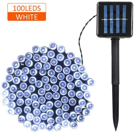 Luz de cadena con energia solar, 100 LED, 2 modos de iluminacion,17m,blanco