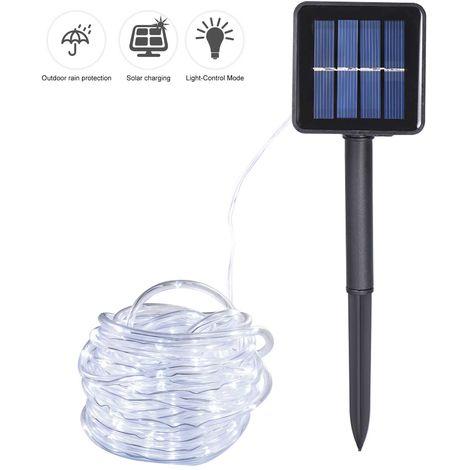 Luz de cadena de tubo solar,50 cuentas de luz, 7M,Blanco