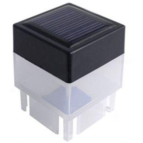 Luz de cerca solar, faro LED de columna de jardin, blanco calido