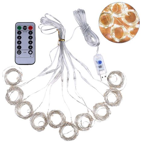 Luz de cortina USB, luces de cadena de lampara de alambre de cobre, 3 * 1M, 100LED,Blanco calido