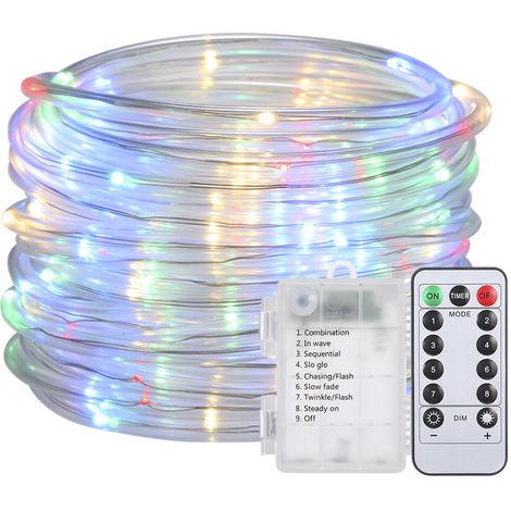 Luz de cuerda, 12M / 39.4Ft 7.2W 120 LED, multicolor, alimentado por bateria