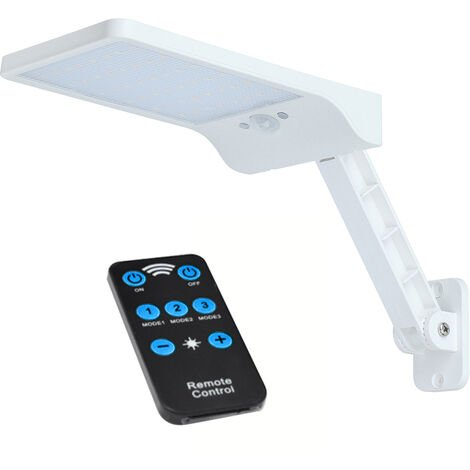 Luz de energia solar, con control remoto, sensor de movimiento PIR,blanco